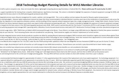 WVLS Technology Planning Guide for 2018 Detail Text