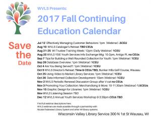 WVLS 2017 Fall Continuing Education Calendar