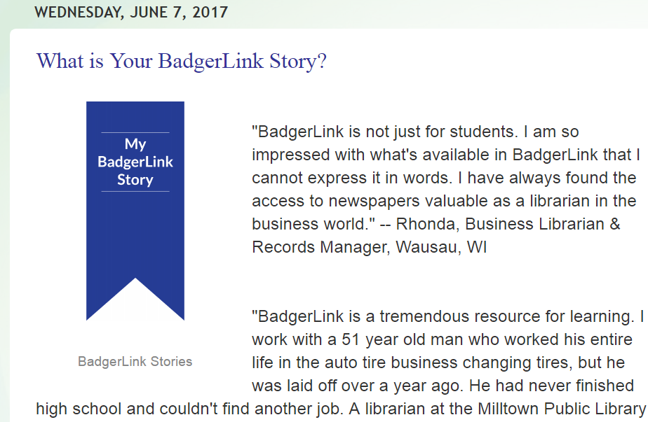 What is your BadgerLink Story?