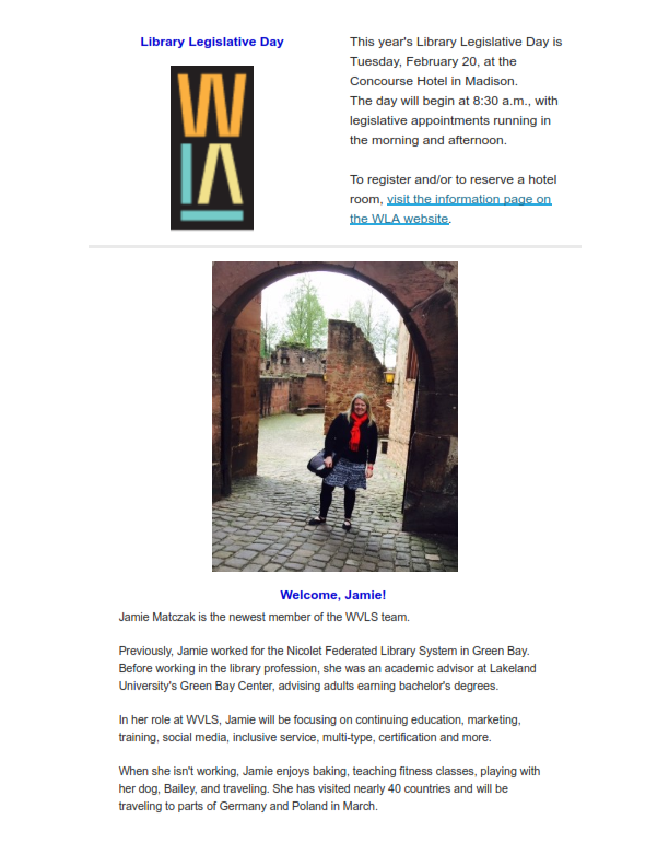 WVLS Newsletter January 2018 Edition 1 Page 2